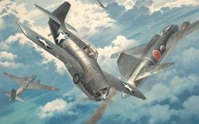 Picture war, art, painting, ww2, Mitsubishi G4M, Grumman F4F Wildcat