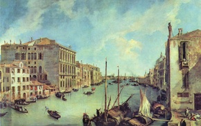 Picture building, picture, boats, architecture, the Grand canal, Antonio canal, Veduta, Antonio Canaletto, the Grand canal …