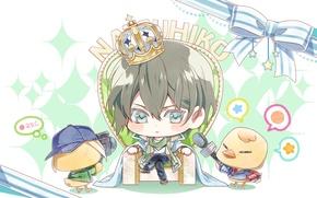 Picture chickens, crown, microphone, bow, Chibi, the throne, art, teita language, azuma natsuhiko, NORN9