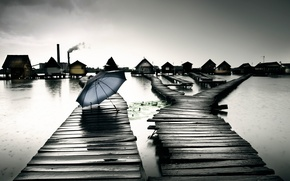 Wallpaper lake, rain, home, umbrella, Hungary, Bokod