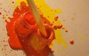 Picture squirt, orange, yellow, paint, color, jars, brush, bright, creativity, brush, colorful, Wallpaper from lolita777, mixing, …