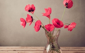 Picture table, Maki, red, vase