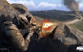 Picture soldiers, shots, machine gun, artwork, DLC Marksmen, ArmA 3