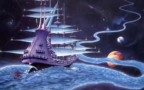 Picture river, planet, ship, stars, worlds, Rodney Matthews, journey, The Ether Stream