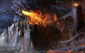 Picture bridge, castle, fire, dragon, art, giant, Chengyong Wang