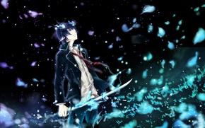 Picture weapons, magic, katana, anime, art, horns, guy, ao no exorcist, blue exorcist, okumura rin, kristin13