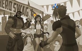 Picture toy, Final Fantasy, ff7, Tifa, Final Fantasy VII, Cloud Strife, Tifa Lockhart, barrett, Barret Wallace