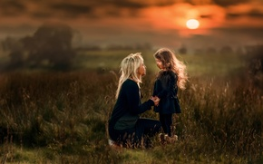 Picture sunset, Love, girl, mom