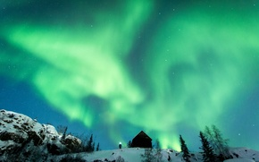 Picture light, winter, snow, man, northern lights, hut, aurora borealis