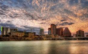Wallpaper clouds, Austin, river, Sunset, sunset