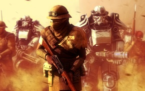 Picture fiction, war, soldiers, armor, fallout, new vegas, post apocalyptic, brotherhood of steel