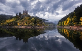 Picture forest, reflection, river, castle, France, fortress