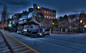 Picture the city, home, the engine, Christmas, decoration, wreath, Express