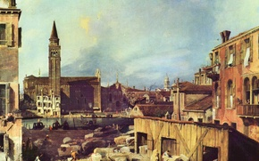 Picture building, Venice, Italy, Antonio canal, Antonio Canaletto, the yard in the workshop of the stonemason
