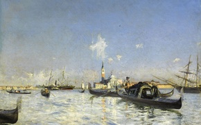 Picture picture, Giovanni Boldini, boat, ship, the bell tower, The island of San Giorgio in Venice, ...