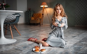 Wallpaper George Chernyadev, lips, portrait, long hair, model, sitting, living room, blonde, high heels, Anastasia Shcheglova, ...