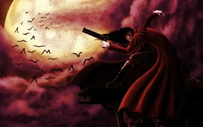 Picture clouds, the moon, anime, the demon, vampire, bats, hellsing, alucard, Alucard, Hellsing