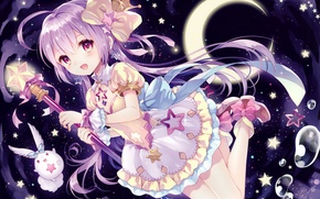 Picture a month, being, crown, girl, bow, rod, wings, Princess, sorceress, stars, art, wasabi, ruffles