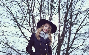 Wallpaper hat, style, look, girl, coat, face, hair