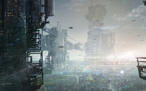 Picture light, landscape, the city, fiction, skyscrapers, megapolis