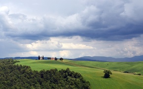 Picture field, grass, clouds, house, hills, silhouette, Italy, Tuscany, The chapel of our Lady of Vitaleta