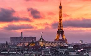 Wallpaper France, glow, home, panorama, Paris, Eiffel tower, lights, the evening