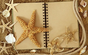 Picture sand, stars, rope, Notepad, shell