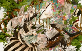 Picture bench, tree, paint, books, girl, pictures, birds, brush, tubes, long hair, artist, long white hair