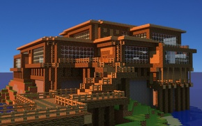 Picture house, sky, water, minecraft