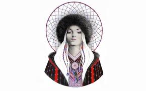 Picture girl, mesh, hat, painting, Dreamcatcher, dreamcatcher