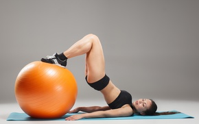 Wallpaper ball, female, workout, fitness