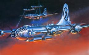 Picture the sky, rays, night, figure, art, glow, Boeing, flight, bombers, aircraft, floodlight, job, WW2, B-29 …