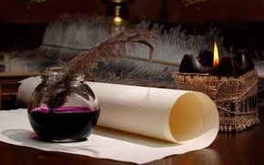 Picture paper, pen, candle, ink, scroll