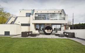Picture style, Villa, yard, sofas, terrace