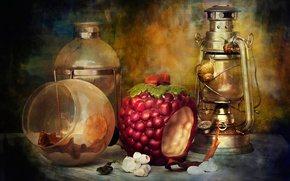 Picture lamp, snails, kettle, still life