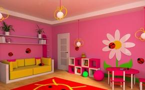 Wallpaper photo, Design, Sofa, Carpet, Chandelier, Toys, Interior, Children's