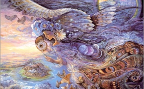 Wallpaper girl, wings, butterfly, night, fantasy, Queen of the Night, Josephine Wall