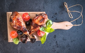 Picture leaves, chicken, meat, tomatoes, olives, Meat, tomato, Basil, chicken, Roast