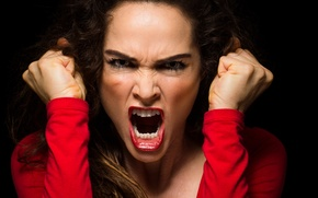 Picture woman, scream, anger