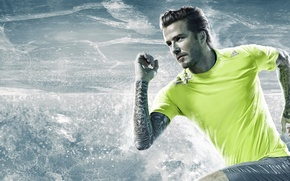 Picture ice, water, speed, running, hairstyle, ice, legend, tattoo, player, Beckham