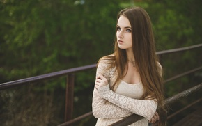 Picture face, pose, Girl, dress, handrails