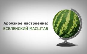 Picture green, watermelon, globe, gray