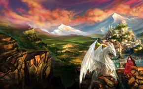 Picture girl, landscape, mountains, the city, castle, rocks, dragon, elf, fantasy, art, elf