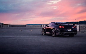Picture GTR, Nissan, Car, Wall, Black, Sunset, Tuning, R35, Rear, AGWheels
