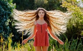 Picture girl, hair, Guenter Stoehr, Ready to take off, dress
