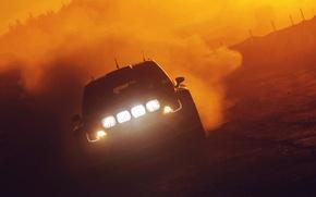 Picture Sunset, The evening, Auto, Volkswagen, Machine, Light, Lights, WRC, Rally, Polo, Jari-Matti Latvala, Ancestor