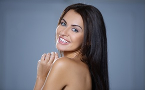 Wallpaper sexy, smile, naked, brunette, woman