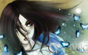 Picture look, butterfly, face, blue, hair, the game, dress, art, green eyes, Alice: Madness Returns