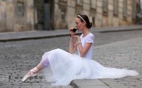 Picture girl, tea, street
