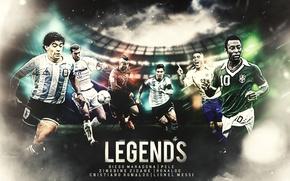 Picture wallpaper, sport, Cristiano Ronaldo, football, Lionel Messi, legends, Ronaldo, Zinedine Zidane, players, Pele, Diego Maradona
